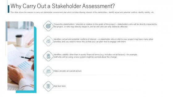 Why Carry Out A Stakeholder Assessment Ppt Portfolio Templates PDF