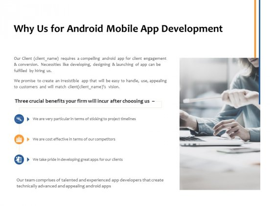 Why Us For Android Mobile App Development Ppt PowerPoint Presentation Show Master Slide