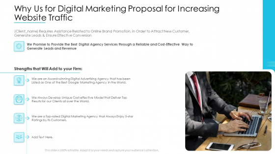 Why Us For Digital Marketing Proposal For Increasing Website Traffic Elements PDF