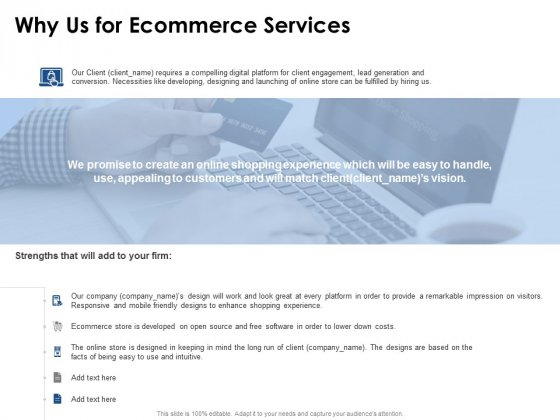 Why Us For Ecommerce Services Ppt PowerPoint Presentation Icon Vector