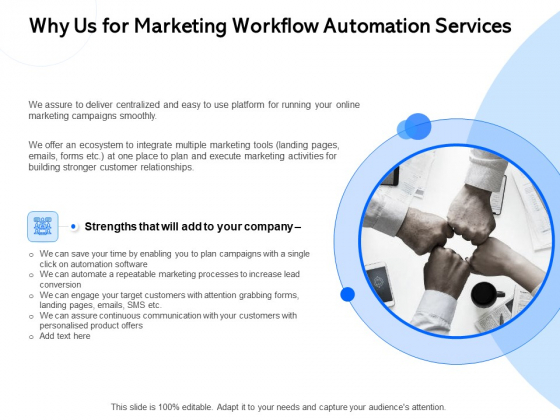 Why Us For Marketing Workflow Automation Services Ppt Sample PDF