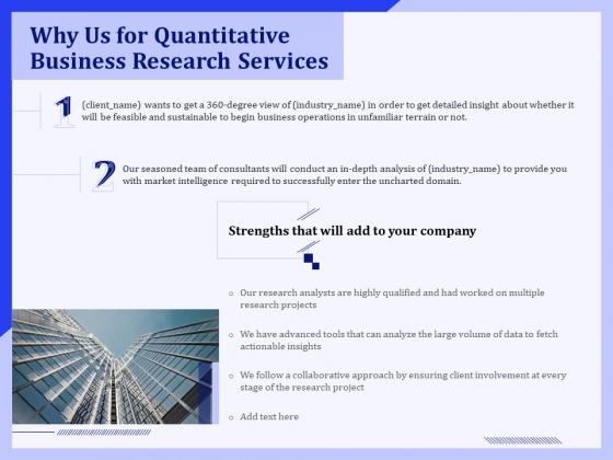 Why Us For Quantitative Business Research Services Ppt PowerPoint Presentation Portfolio Show PDF