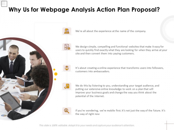Why Us For Webpage Analysis Action Plan Proposal Ppt PowerPoint Presentation File Rules PDF