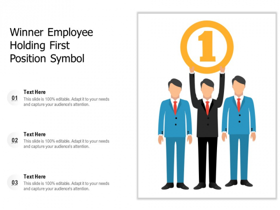 Winner Employee Holding First Position Symbol Ppt PowerPoint Presentation Inspiration Example PDF