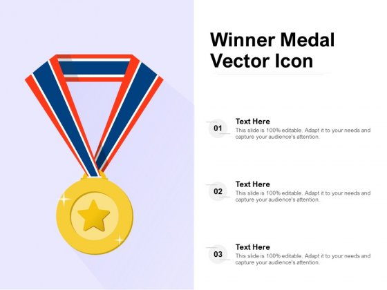 Winner Medal Vector Icon Ppt PowerPoint Presentation Portfolio Themes