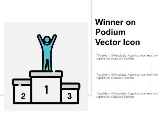 Winner On Podium Vector Icon Ppt PowerPoint Presentation File Master Slide