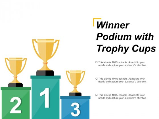 Winner Podium With Trophy Cups Ppt PowerPoint Presentation Layouts Pictures