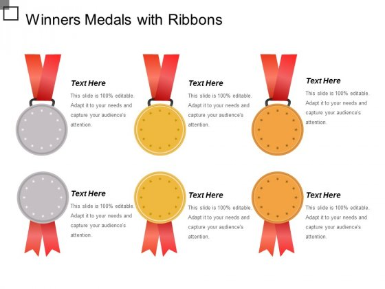 Winners Medals With Ribbons Ppt PowerPoint Presentation Show Graphics