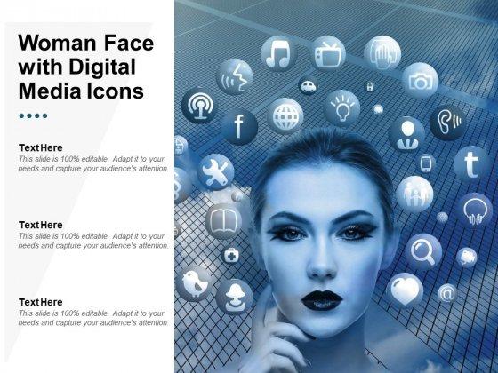 Woman Face With Digital Media Icons Ppt Powerpoint Presentation Visual Aids Pictures