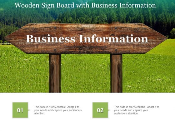 Wooden Sign Board With Business Information Ppt PowerPoint Presentation Portfolio Deck