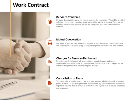 Work Contract Plans Ppt PowerPoint Presentation Model Demonstration