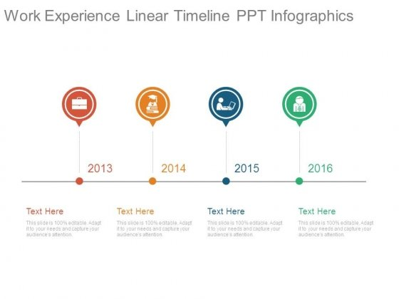 work experience linear timeline ppt infographics powerpoint templates