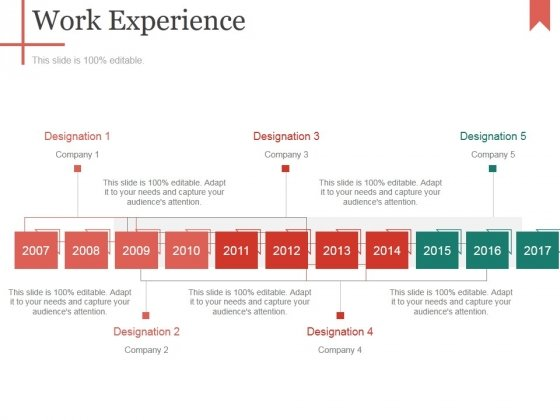 Work Experience Template 2 Ppt PowerPoint Presentation Infographics Ideas