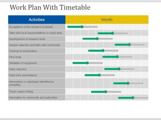 Work Plan With Timetable Template 1 Ppt PowerPoint Presentation Icon Slides