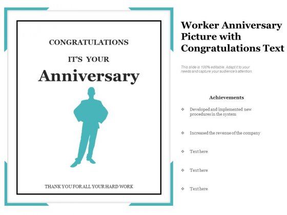 Worker Anniversary Picture With Congratulations Text Ppt PowerPoint Presentation Gallery Rules PDF