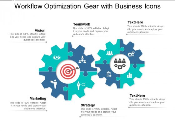 Workflow Optimization Gear With Business Icons Ppt PowerPoint Presentation Outline Vector