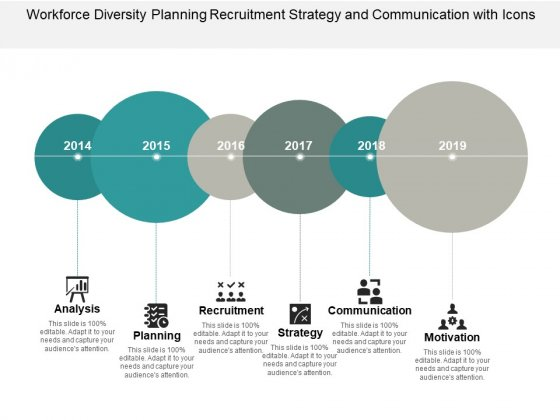 Workforce Diversity Planning Recruitment Strategy And Communication With Icons Ppt PowerPoint Presentation Styles Slides