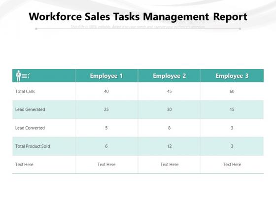 Workforce Sales Tasks Management Report Ppt PowerPoint Presentation Ideas Design Inspiration PDF