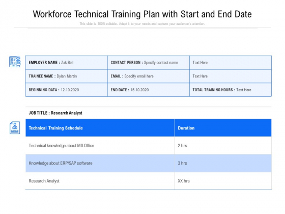 Workforce Technical Training Plan With Start And End Date Ppt PowerPoint Presentation Gallery Clipart PDF