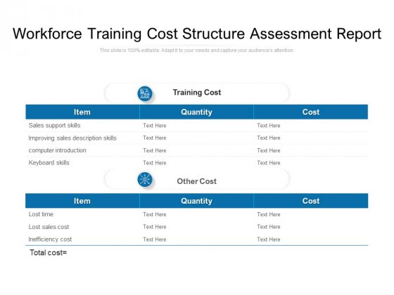 Workforce Training Cost Structure Assessment Report Ppt PowerPoint Presentation Gallery Summary PDF