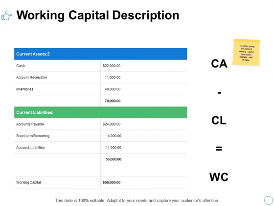 Working Capital Description Ppt PowerPoint Presentation Gallery Background Images