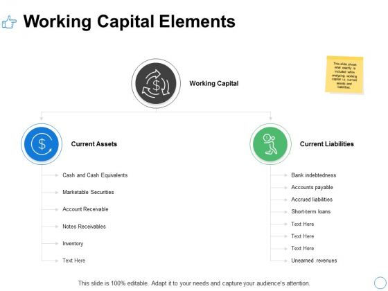 Working Capital Elements Ppt PowerPoint Presentation Infographics Background