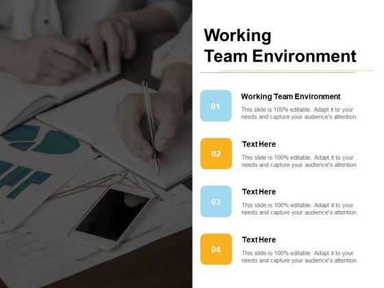 Working Team Environment Ppt PowerPoint Presentation File Slide Cpb