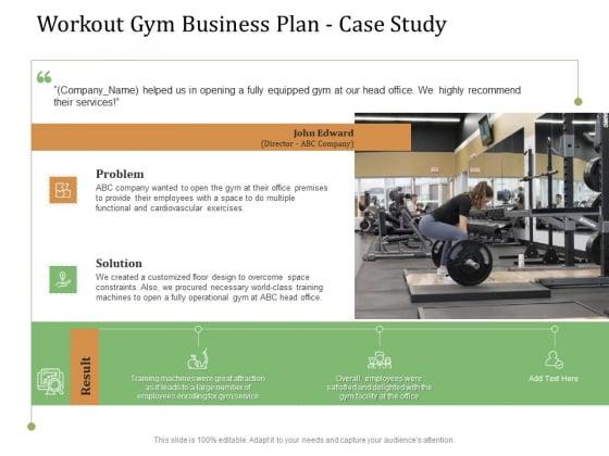 Workout Gym Business Plan Case Study Ppt Model Show PDF