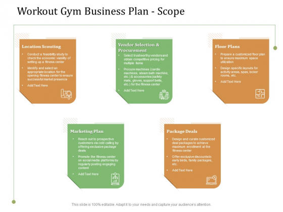 Workout Gym Business Plan Scope Ppt Styles Example Topics PDF