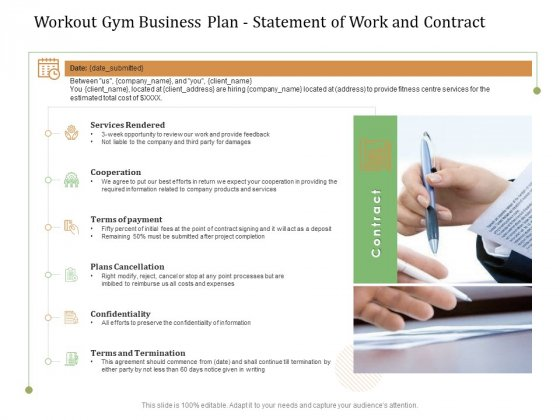 Workout Gym Business Plan Statement Of Work And Contract Ppt Model Background Image PDF