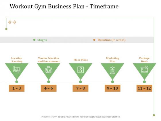 Workout Gym Business Plan Timeframe Ppt Outline Slide Download PDF