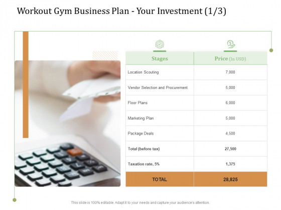 Workout Gym Business Plan Your Investment Deals Ppt Pictures Files PDF