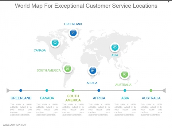 World Map For Exceptional Customer Service Locations Ppt Images Gallery