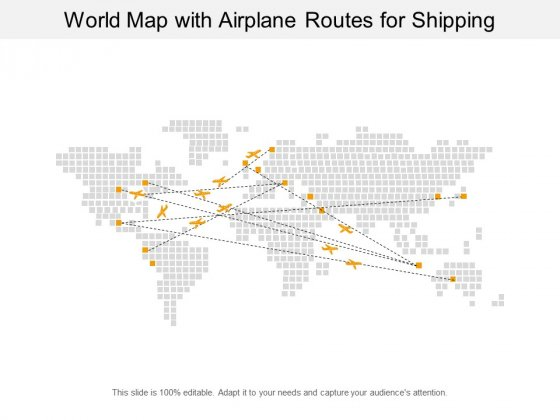 World Map With Airplane Routes For Shipping Ppt PowerPoint Presentation Show Microsoft