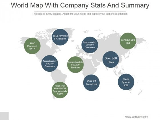 World Map With Company Stats And Summary Ppt PowerPoint Presentation Infographic Template