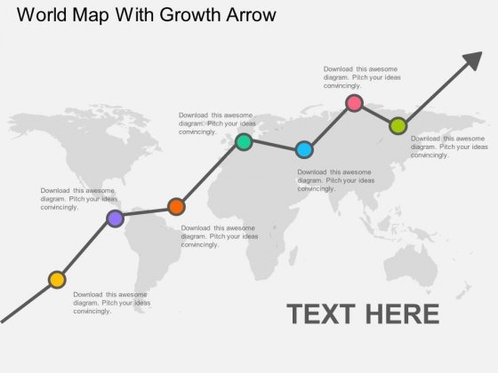 World Map With Growth Arrow Powerpoint Template