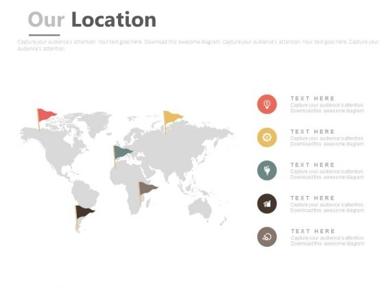 World Map With Location Flags And Icons Powerpoint Slides