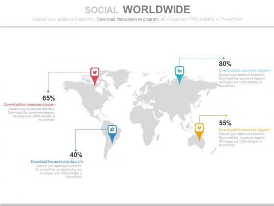 World Map With Social Media Icons Powerpoint Slides