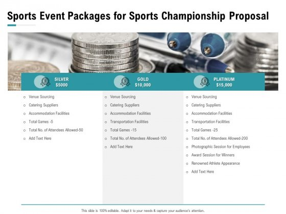 Worldwide Tournament Sports Event Packages For Sports Championship Proposal Ppt Professional Outline PDF