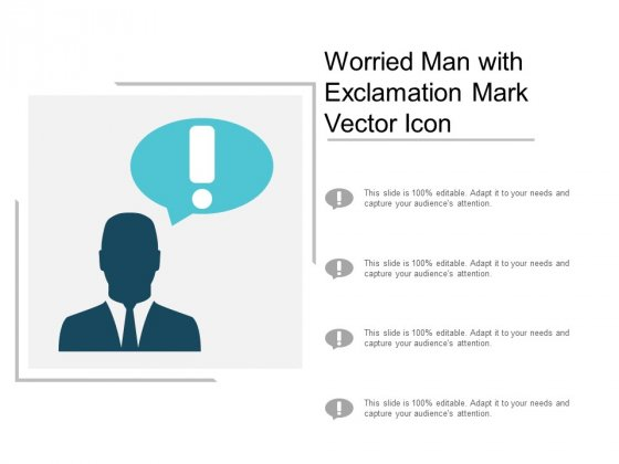 Worried Man With Exclamation Mark Vector Icon Ppt PowerPoint Presentation Infographics Microsoft