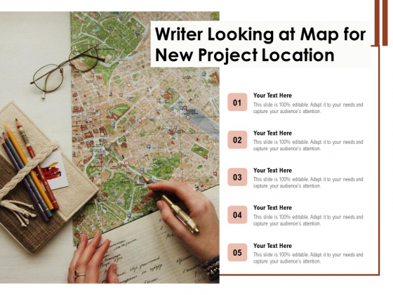 Writer Looking At Map For New Project Location Ppt PowerPoint Presentation Inspiration Styles PDF