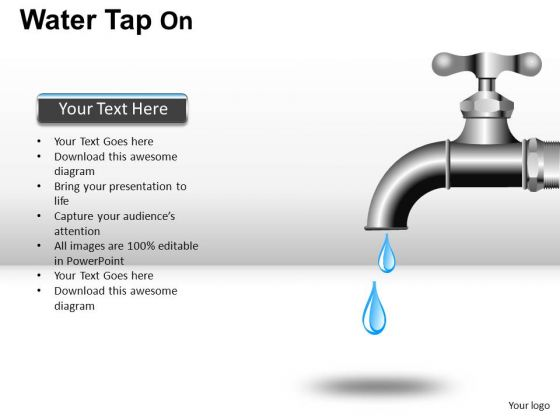Water Faucet PowerPoint Editable Clipart And Images