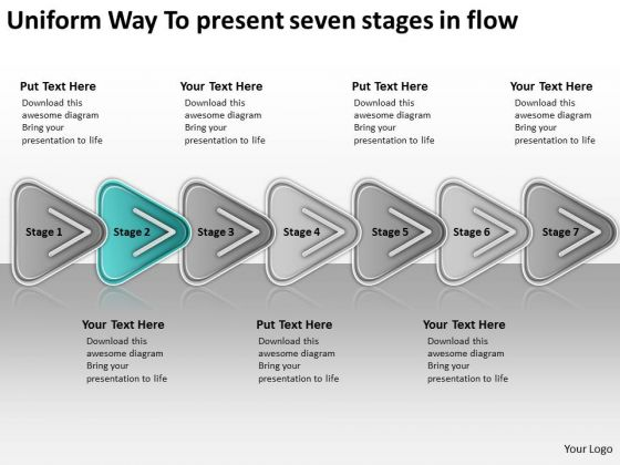 Way To Present Seven Stages In Flow Free Business Plan Template Word PowerPoint Templates