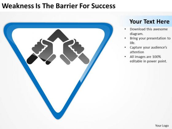 Weakness Is The Barrier For Success Ppt Online Business Plan PowerPoint Slides
