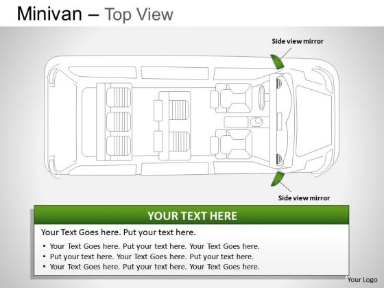 Wheel Green Minivan Top View Slides And Ppt Diagrams Templates