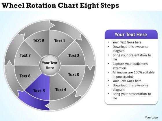 Wheel Rotation Chart Eight Steps Businessplan PowerPoint Templates