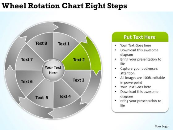 Wheel Rotation Chart Eight Steps By Business Plan Template PowerPoint Templates