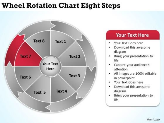 Wheel Rotation Chart Eight Steps Courier Business Plan PowerPoint Slides