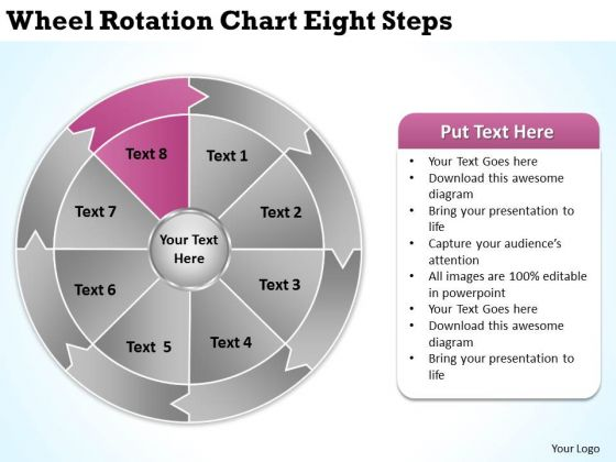 Wheel Rotation Chart Eight Steps Real Estate Business Plan Sample PowerPoint Slides