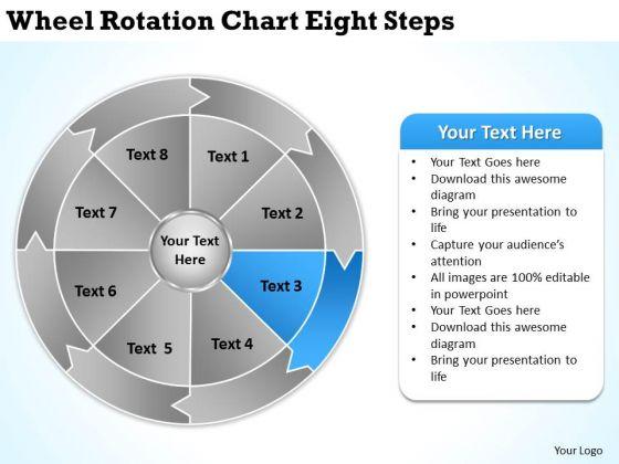 Wheel Rotation Chart Eight Steps Writting Business Plan PowerPoint Slides